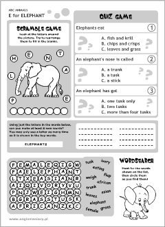 English printable resources: Elephant worksheets
