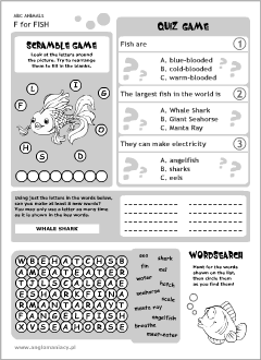 English printable resources: Fish worksheets