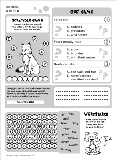 English printable resources: Fox worksheets