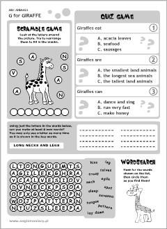 English printable resources: Giraffe worksheets