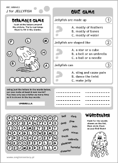 English printable resources: Jellyfish worksheets