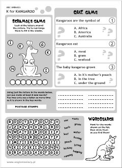 English printable resources: Kangaroo worksheets