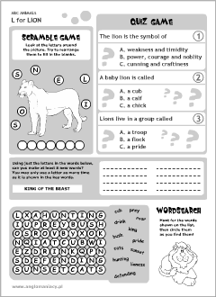 English printable resources: Lion worksheets