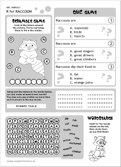 English printable resources: Raccoon worksheets