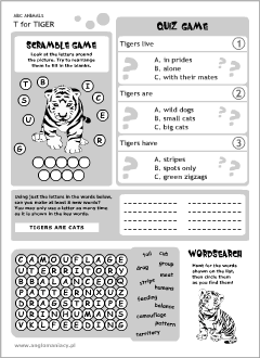 English printable resources: Tiger worksheets
