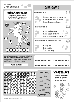English printable resources: Unicorn worksheets