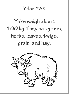 English printable resources: Yak readers