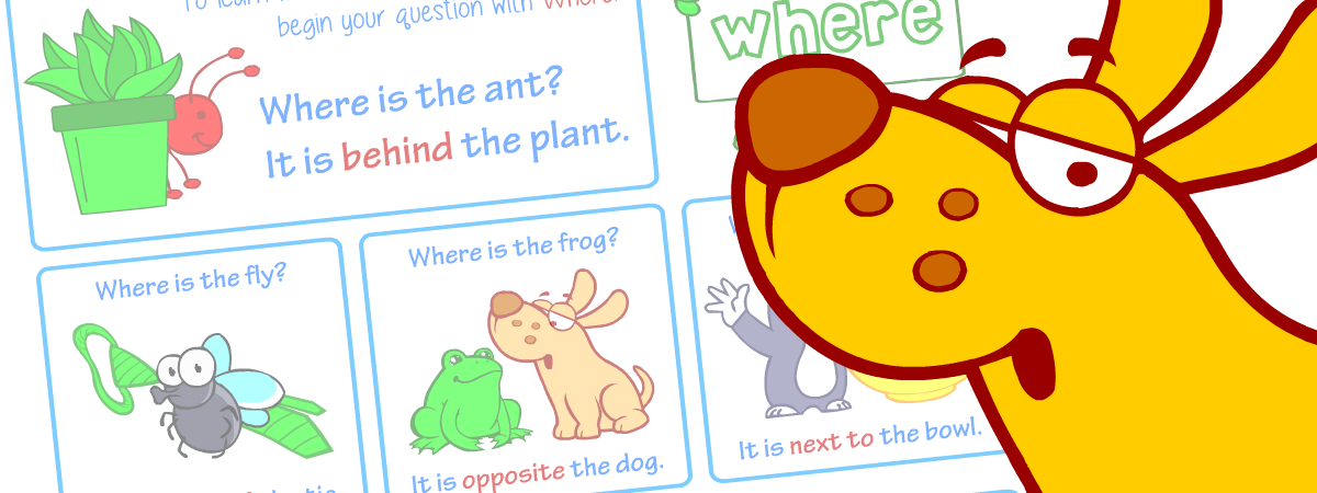 Prepositions. English grammar posters for kids