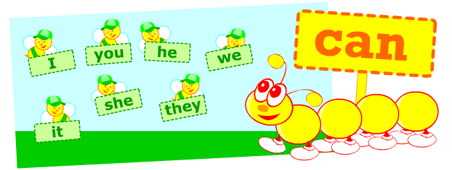 Verb can. English grammar posters for kids