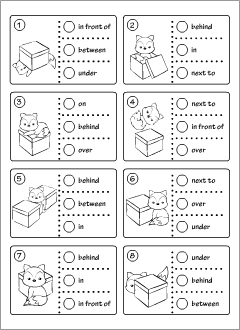 Worksheets for learning English prepositions