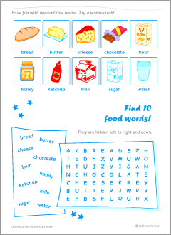 Worksheets to learn English countable and uncountable nouns