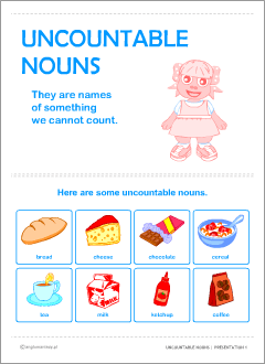 English uncountable nouns poster