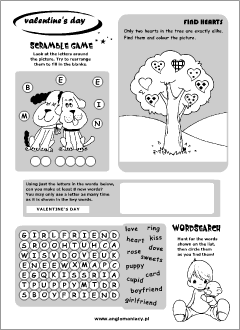 Valentine's Day worksheets for kids learning English