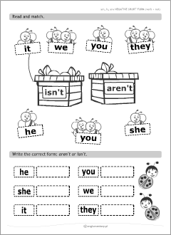 Verb be | Grammar worksheets for kids learning English