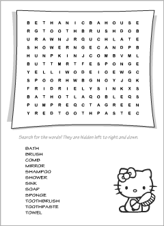 Printable wordsearches: Bathroom vocabulary
