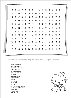 English wordsearch: Spring Flowers vocabulary