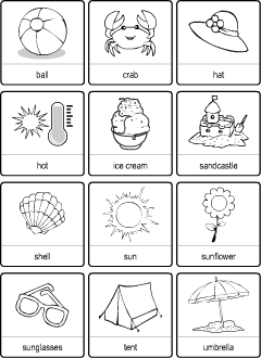 Bingo cards for learning English