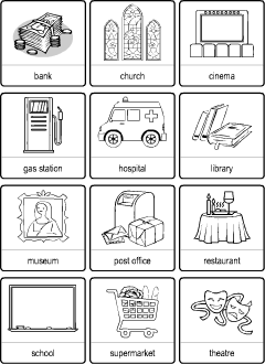 Town Vocabulary For Kids Learning English Matching Game