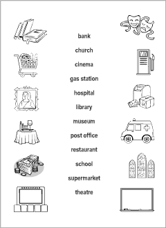 town vocabulary for kids learning english printable resources. Black Bedroom Furniture Sets. Home Design Ideas